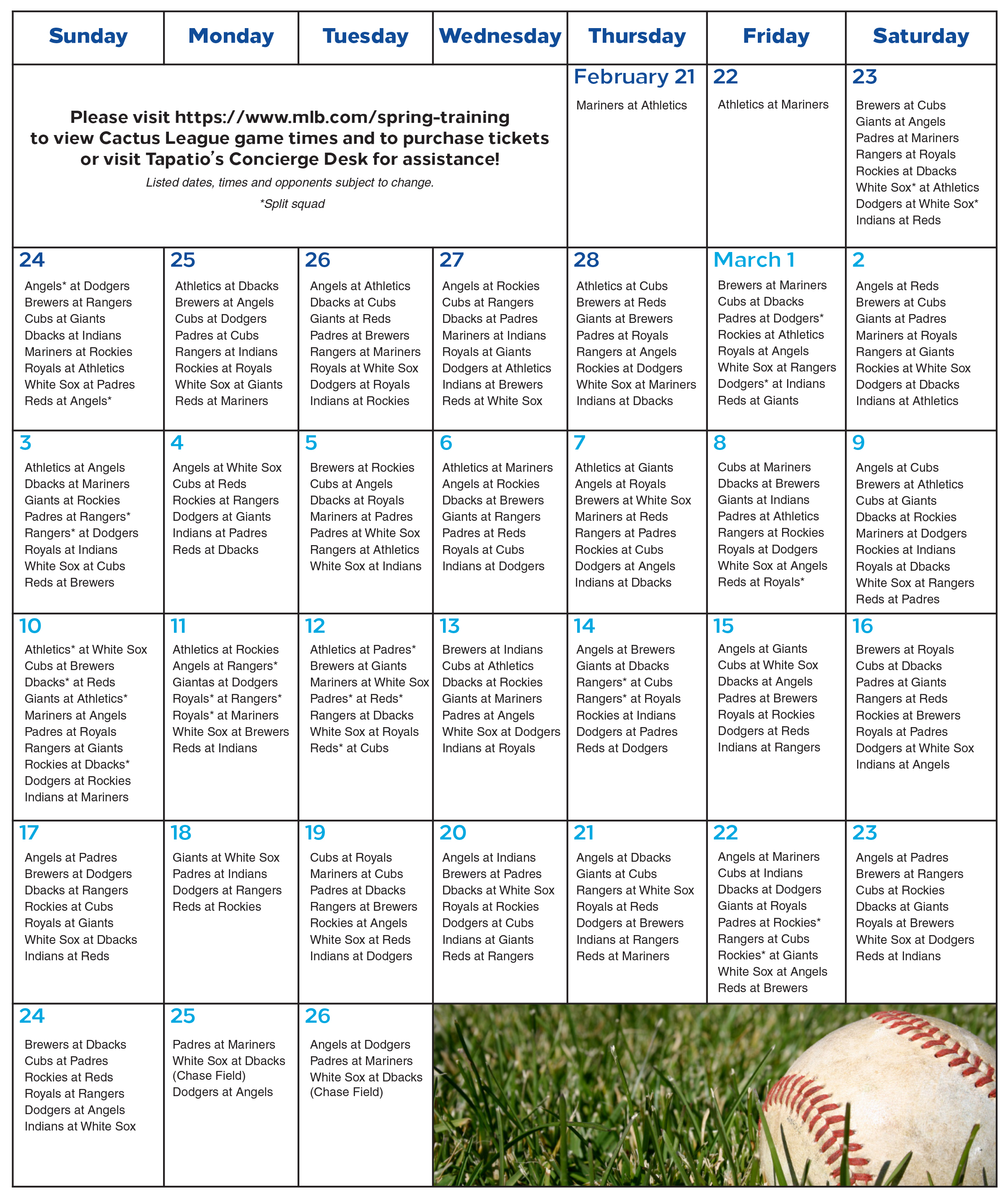 Cactus League Schedule 2019 Your Home Base for Spring Training   Pointe Hilton Tapatio Cliffs