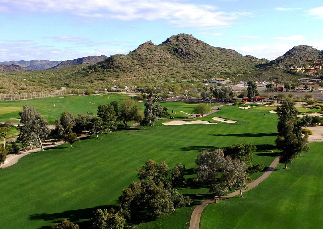 Aerial view of holes 1 and 18 at Lookout Mountain Golf Club