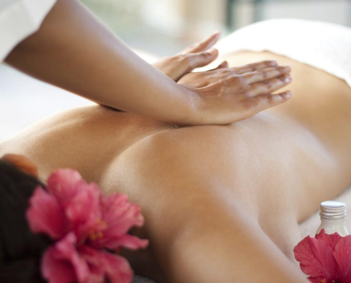 Woman receiving a relaxing back massage